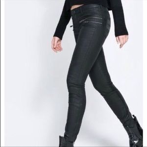 Zara black wax coated moto biker jeans